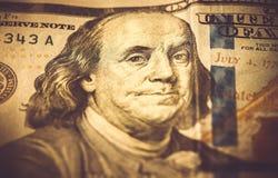 Een deel van 100 dollars, macroschot, Benjamin Franklin Royalty-vrije Stock Afbeeldingen