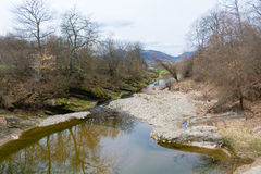 Een deel van droge rivier in het hout tijdens de lente Stock Foto