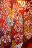 Een deel van een abstract en oud Inheems kunstwerk, Australië Royalty-vrije Stock Fotografie