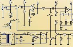 Een deel van een elektronisch schakelschema Stock Afbeeldingen
