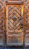Een deel van een houten deur verschillende types van hout Stock Fotografie