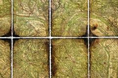 Een deel van een oude toeristenkaart. Stock Afbeeldingen