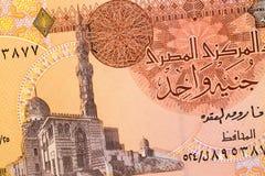 Een deel van het bankbiljetachtergrond van ??n pondegypte De hoge resolutiefoto van voorkant Egyptische rekening, sluit omhoog ma stock fotografie