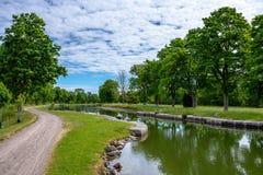Een deel van het Gota-kanaal in Zweden stock fotografie