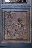 Een deel van het groot scherm binnen Chen Clan Academy die volkskunst gebruiken sneed van een gesneden plaat Royalty-vrije Stock Afbeeldingen