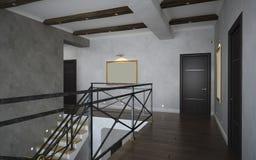 Een deel van het klassieke binnenland, trapmening Stock Foto