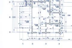 Een deel van het plan van de blauwdrukvloer architecturale tekeningsachtergrond royalty-vrije stock afbeeldingen