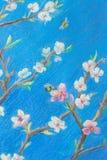 Een deel van het schilderen van pastelkleur op document die 'vertakt zich tegen de blauwe hemel bloeien De lente ? stock fotografie