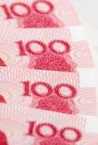 Een deel van Honderd yuan nota's Stock Foto