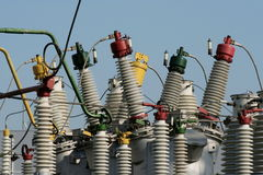 Een deel van hulpkantoor met hoog voltage stock afbeeldingen