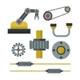 Een deel van machines van het het detailtoestel van het productiewerk van de het mechanische materiaalindustrie de vectorillustra Stock Foto's