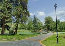 Een deel van openbare tuinen - fonteinen en vijver stock afbeelding