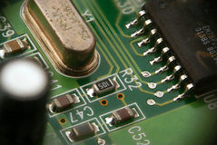 Een deel van printed-circuit van PCB raad Stock Afbeelding