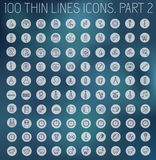 Een deel 2 van reeks van het het pictogrampictogram van inzamelings de dunne lijnen Stock Afbeeldingen