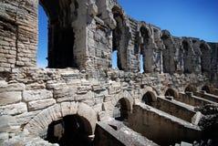 Een deel van Roman Arena in Arles, de Provence, Frankrijk Stock Foto's