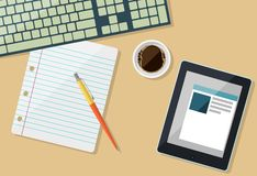Een deel van toetsenbord met document, tablet en kop van koffie vector illustratie