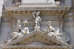 Een deel van voorgevel van de kerk Basilica Di San Moise van Heilige Mozes Royalty-vrije Stock Afbeeldingen