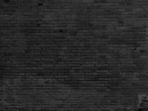 Een deel van zwarte geschilderde bakstenen muur horizontaal Stock Afbeelding