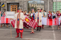 Een delegatie van van Konotop-gebied in nationale traditioneel Stock Foto
