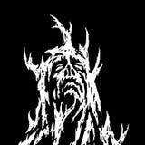 Een demon die met takken van het groeien kijkt omhoog Vector illustratie vector illustratie