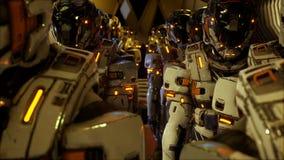 Een detachement van militairen van de toekomst die op de planeet voorbereidingen treffen te landen stock footage