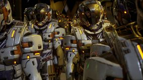 Een detachement van militairen van de toekomst die op de planeet voorbereidingen treffen te landen het 3d teruggeven royalty-vrije illustratie