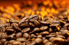 Een detail van coffekorrels Stock Afbeelding