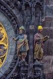 Een detail van de astronomische klok in Praag Stock Afbeeldingen