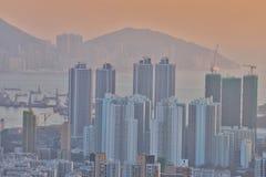 een Dichte hoge stijgingsflats in Kowloon, Hongkong Royalty-vrije Stock Afbeelding
