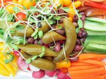 Een dienblad van gesneden groenten Stock Foto