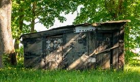 Een dilapidated keet in het bos stock afbeeldingen