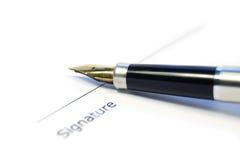 Een document klaar voor handtekening Royalty-vrije Stock Fotografie