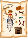 Een document met een tekening van een cowboy en een zaalbar Stock Foto