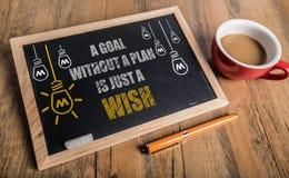 Een doel zonder een plan is enkel een wens stock afbeelding