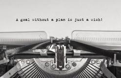 Een doel zonder een plan is enkel een wens! stock foto's