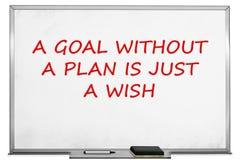 Een doel zonder een plan is enkel een wens, witte raad royalty-vrije stock afbeeldingen