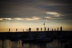 Een dok in de zonsondergang Royalty-vrije Stock Foto's