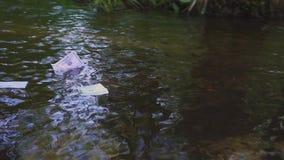 Een dollarrekening drijft langs de rivier Concept op het thema van onverwachte rijkdom stock footage