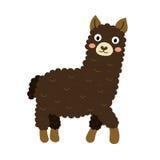 Een donker bruin karakter van het alpacabeeldverhaal Royalty-vrije Stock Foto's