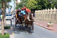 Een door paarden getrokken die vervoer op de straten van Santo Domingo wordt gezien Stock Foto's