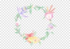 Een doorbladert de kleurrijke Waterverfbloemen en groen op de cirkel crownd met tak en kabel, de mooie bloemenvectoren van de kad vector illustratie