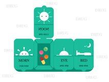 Een doos geneeskunde, vectorillustratie, vlak ontwerp, de Dagelijkse organisator van de druggeneeskunde, kleurrijke Opslag van ge Stock Afbeeldingen