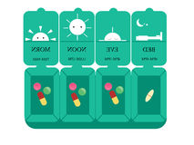 Een doos geneeskunde, vectorillustratie, vlak ontwerp, de Dagelijkse organisator van de druggeneeskunde, Opslag van geneeskunde Stock Foto's