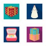 Een doos met een gift voor een huwelijk, een bruid in een sluier en een kleding, een ring in een diamantverlovingsring met een di Stock Afbeeldingen