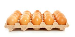 Een doos van bruine kippeneieren Stock Foto