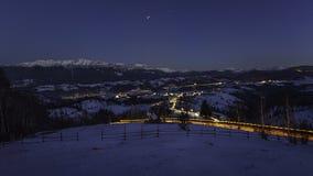 Een dorp in de bergen Stock Afbeelding