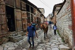 Een dorp in het gebied van zeismailli van Azerbeidzjan de lente Stock Afbeelding