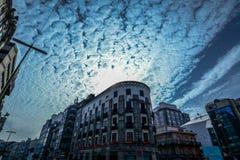 Een dramatische hemel boven Vigo Royalty-vrije Stock Afbeelding