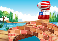 Een drijvende ballon met de vlag van Chili vector illustratie