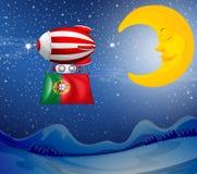 Een drijvende ballon met de vlag van Portugal stock illustratie